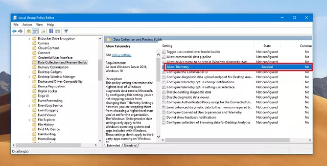 """Chọn dòng """" Allow Telemetry """" để tiếp tục khắc phục lỗi some settings are managed by your organization"""